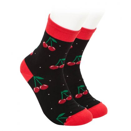 Kids Socks - cherries - black