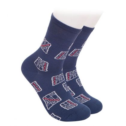 Tic Tac Toe bamboo socks - dar blue