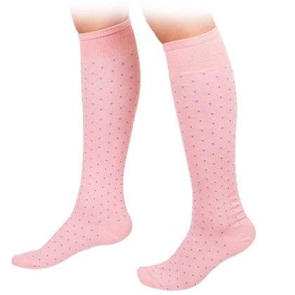 Knee High Pink Socks with purple dots