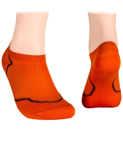 Cotton short socks with mesh – orange