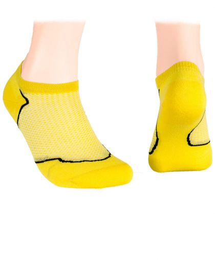 Cotton short socks with mesh - yellow