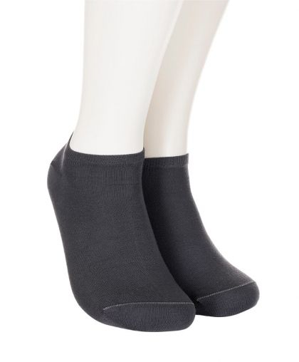Cotton short socks with mesh – graphite