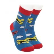 Socks with airplanes and clouds