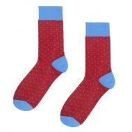 Socks burgundy of light blue dots