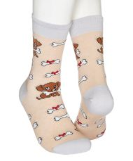 Socks with a little cute dog and a bone