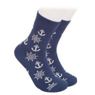 Bamboo socks, dark blue with anchors