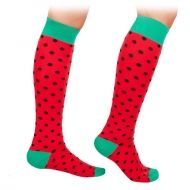 Red Socks with black dots Knee High