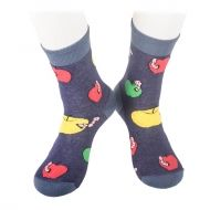 Socks with apples and small worms