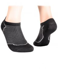 Cotton short socks with mesh - graphite