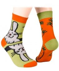 Bunny and carrots Socks