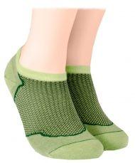 Cotton short socks with mesh -  green