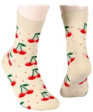 Kids Socks - cherries - ecru