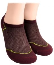 Cotton short socks with mesh - burgundy