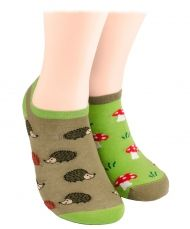 Hedgehog and mushrooms Shorty Socks