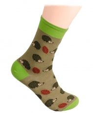 Hedgehog and mushrooms socks