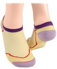 Cotton short socks with mesh - light yellow