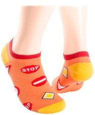 Coral Road signs Shorty Socks
