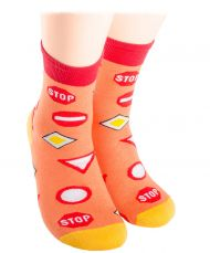 Road signs Kids Socks - coral