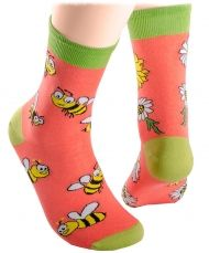 Bees and daisies socks tangerine